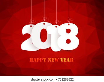 Happy new year 2018. polygonal red mosaic background