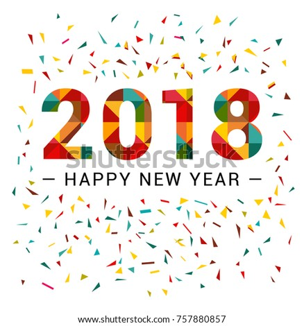 Happy New Year 2018 Polygonal Triangular Stock Vector (Royalty Free ...