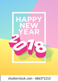 happy new year 2018 postcard with frame and pastel colors vector eps 10 template