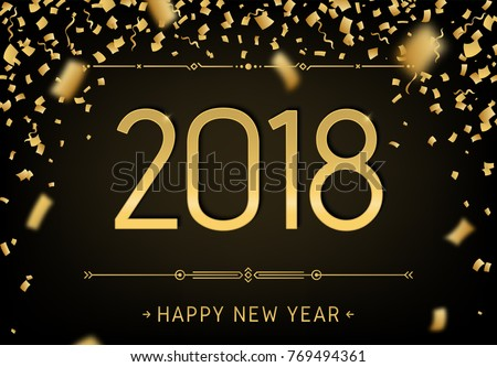 happy new year 2018 premium design greeting card template 2018 with golden glitter confetti