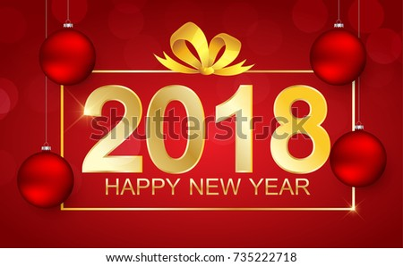 happy new year 2018 red background with gold gift bow and text gold color
