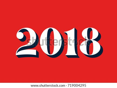 happy new year 2018 retro background decoration greeting card design template vector illustration of