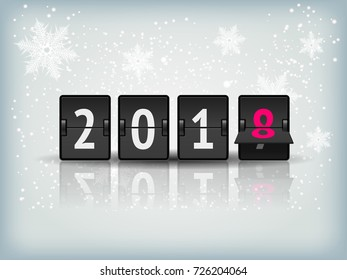 Happy New Year 2018 scoreboard vector realistic illustration. Mechanical clock design for greeting card, poster or web pages for celebrating 2018 year