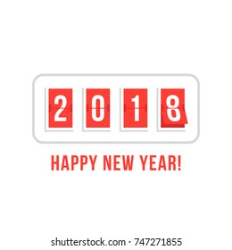 happy new year with 2018 scoreboard. flat retro style trend logotype graphic design isolated on white background. concept of coming soon changing numbers on countdown or digit flip analog clock logo