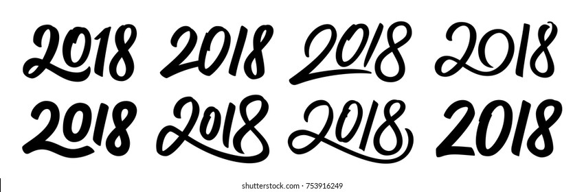 Happy New Year 2018. Set of calligraphy numbers for Chinese for Year of the Dog. Vector illustration.