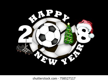 happy new year 2018 and soccer ball with Christmas tree, hat and football boot. Vector illustration