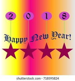 Happy New Year 2018, stars, balls, pink background.