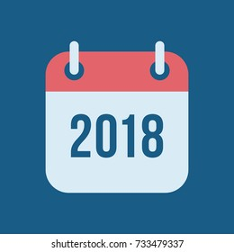 Happy New Year 2018. Tear-off calendar icon in flat style on blue background. Reminder symbol design for Chinese Year of the Dog