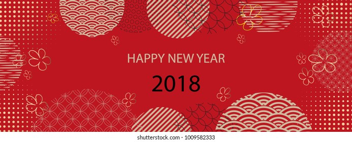 Happy new year 2018. Template greeting card in oriental style. Chinese, japanese elements.Red background.Vector illustration.