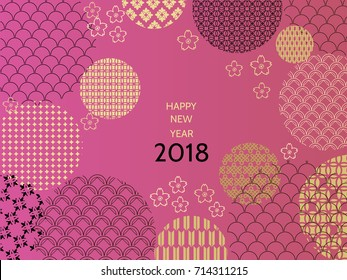 Happy new year 2018. Template greeting card in oriental style. Chinese,  japanese  elements. Vector illustration.