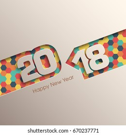 Happy new year 2018 Text Design vector.