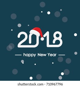 Happy new year 2018, text, lettering design, banner, postcard, invitations, print, poster, web, presentation, vector illustration eps10