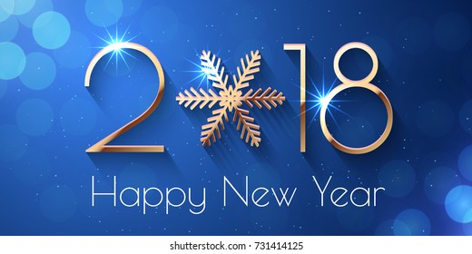 happy new year 2018 text design vector greeting illustration with golden numbers and snowflake
