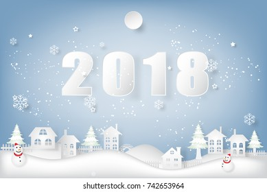 Happy new year 2018 text, snowman and snowflakes countryside village background as holiday, celebration and paper art concept. vector illustration.