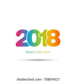Happy new year 2018 Text Design vector.