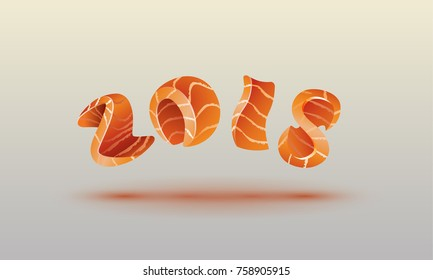 Happy New Year 2018 text design. Salmon style numbers for sushi calendar background.