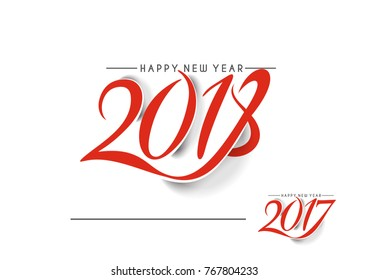 Happy new year 2018 Text Design  patterVector illustration
