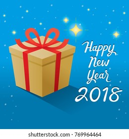 Happy New Year 2018 Text And Gold Gift Box With Red Ribbon, Merry Christmas, Xmas, Objects, Animals, Festive, Celebrations