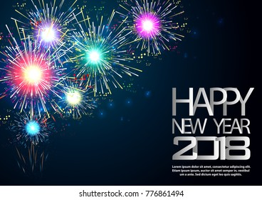 Happy new year  2018  text - Fireworks Colorful - background Vector illustration.
