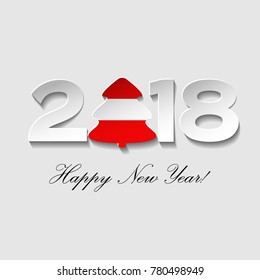 happy new year 2018 text design on a light background vector greeting illustration with cut