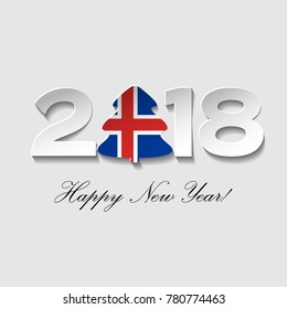 Happy New year 2018 text design on a light background. Vector greeting illustration with cut paper and a Christmas tree with Iceland country flag.