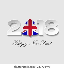 Happy New year 2018 text design on a light background. Vector greeting illustration with cut paper and a Christmas tree with  UK country flag.