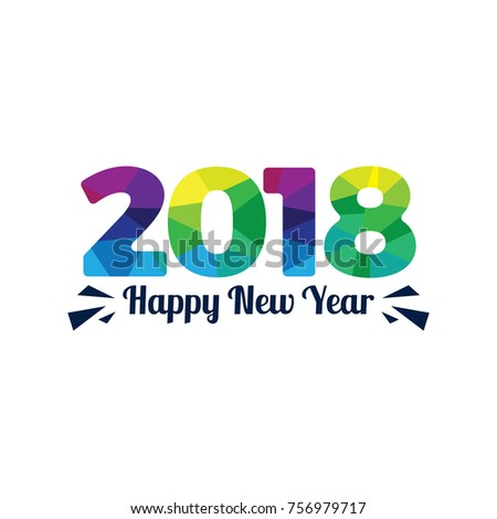 happy new year 2018 text design vector illustration plygonal style