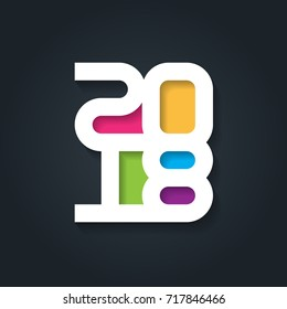 Happy New Year 2018. Vector greeting card. Cover of business diary for 2018. Vector brochure or cover design template