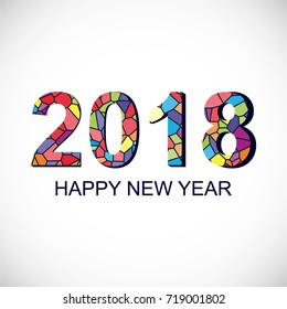 Happy New Year 2018, vector illustration with Mosaic Numbers on Light Background.