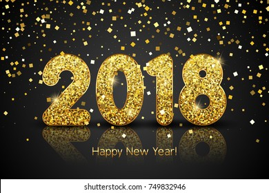Happy New Year 2018. Vector New Year background