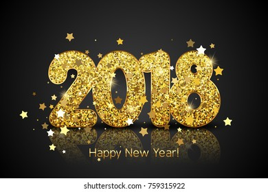 Happy New Year 2018. Vector New Year background with gold stars