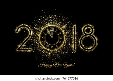 Happy New Year 2018 - Vector New Year background with gold clock on black