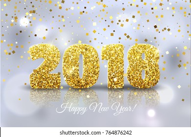 Happy New Year 2018. Vector Happy New Year festive background with gold confetti