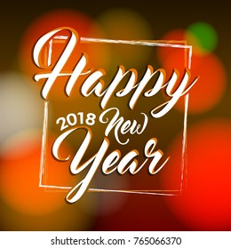 Happy New Year 2018 Vector greeting card illustration.