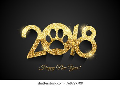 Happy New Year 2018. Vector Happy New Year background black & gold background with paw icon (2018 Year of dog)