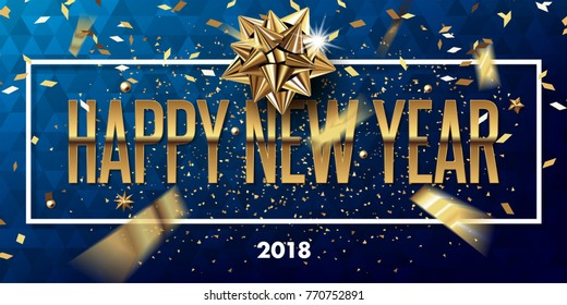 happy new year 2018 vector greeting card and poster design with golden ribbon,star and confetti.