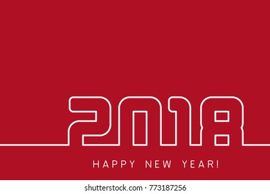 Happy New Year 2018. Vector New Year red and white modern background