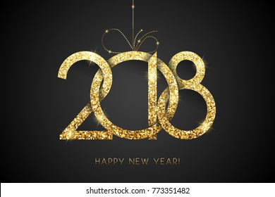 Happy New Year 2018. Vector New Year background with gold number on black