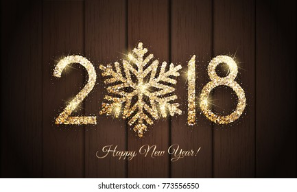 Happy New Year 2018 - Vector New Year card with gold shiny snowflake on wooden background