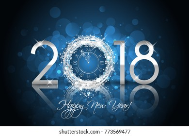 Happy New Year 2018 - Vector New Year card with silver clock on blue background
