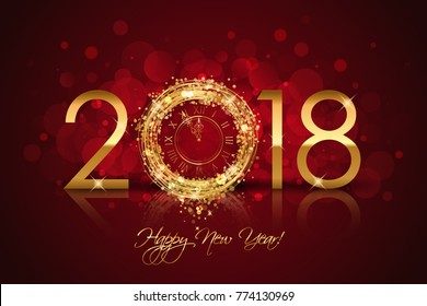 Happy New Year 2018 - Vector New Year background with gold clock on red background