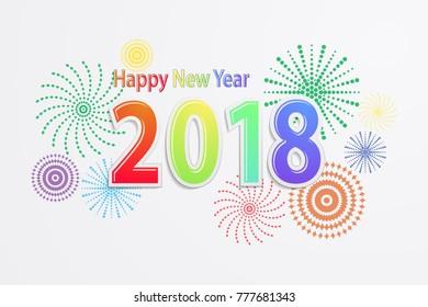 Happy new year 2018, Vector illustration EPS10