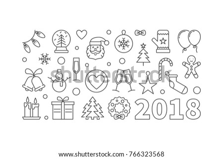 Happy New Year 2018 Vector Line Stock Vector (Royalty Free ...