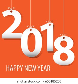 Happy New Year 2018 white number paper cut on orange background design for countdown holiday festival vector illustration.