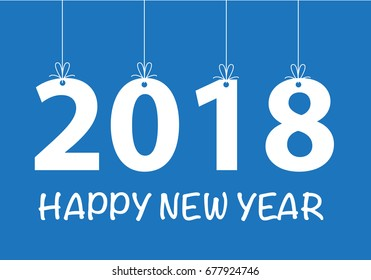 happy new year 2018 white hanging on blue design for holiday festival countdown night party vector