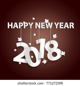 happy new year 2018 White text, strap hanger, leaves scattered with a dark red background, style paper art
