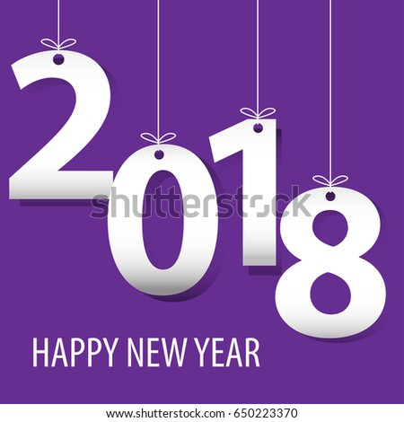 happy new year 2018 white number paper cut on purple background design for countdown holiday festival