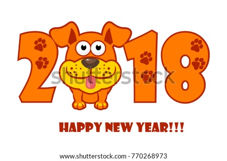 happy new year the year 2018 is a yellow earth dog cartoon dog