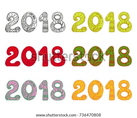 happy new year 2018 zentangle hand drawn numbers with abstract patterns on isolation background