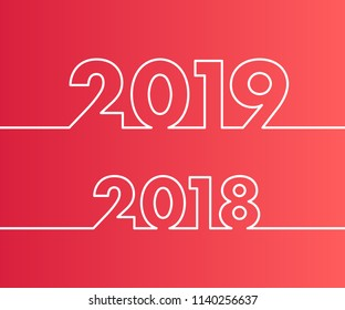 Happy New Year 2019 and 2018 background. Calendar design typography vector illustration. Year number with outline digits.